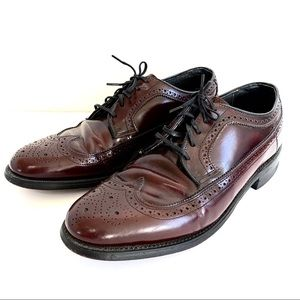 Hanover Brown Red Wingtip Oxford Dress Shoes